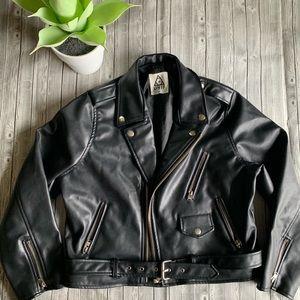 UNIF Belted Moto Vegan Leather Jacket